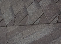 Closeup of closed valley roofing shingles